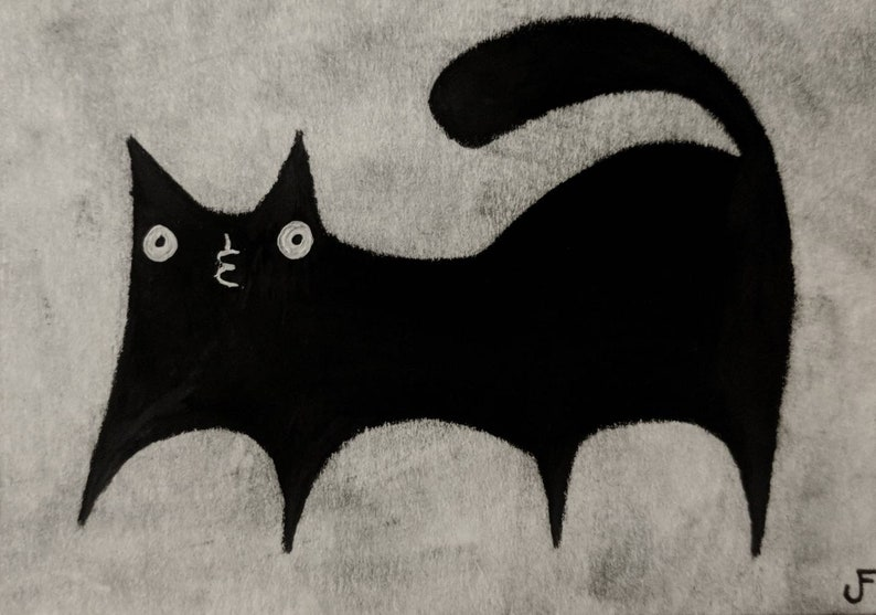 Original ACEO Black Cat Gifts For Cat Lovers Outsider Folk Art image 0