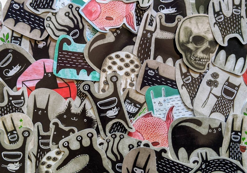 28 ASSORTED PAPER STICKERS Lot Folk Art Collectible Cute Funny image 0