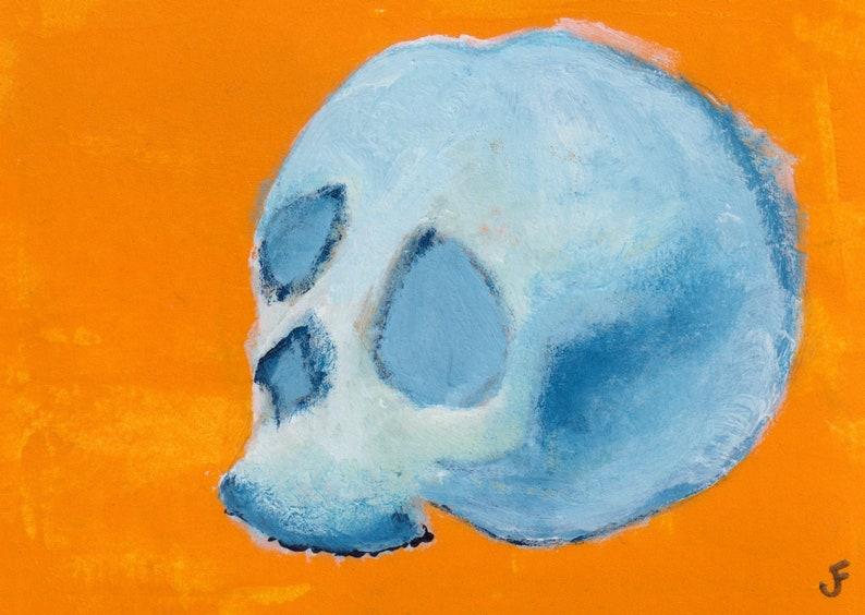 ACEO ART PRINT Human Skull Anatomy Folk Art Miniature image 0