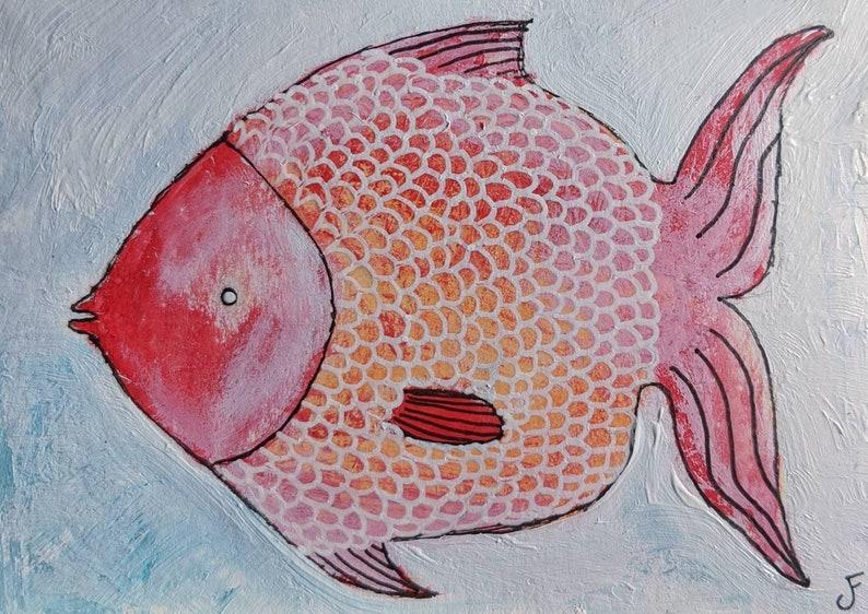 ACEO ORIGINAL ART Whimsical Fish Painting Illustration image 0