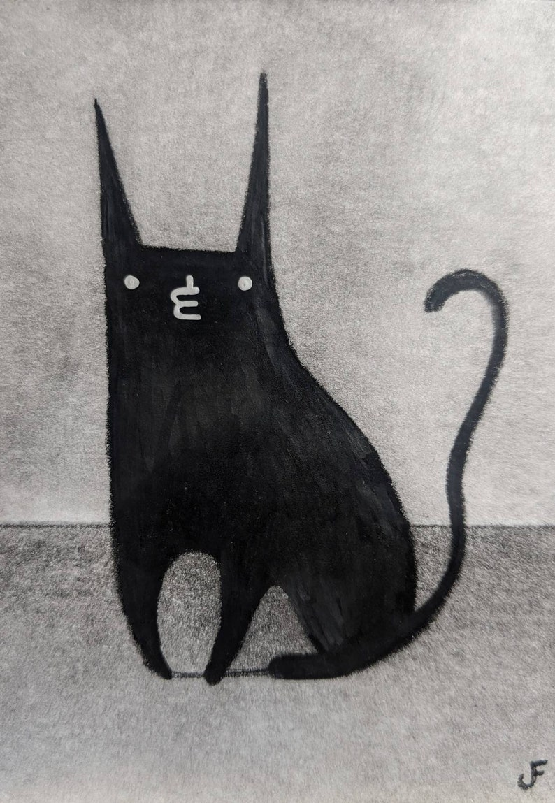 ACEO ORIGINAL Black Cat Gifts For Cat Lovers Outsider Folk Art image 0