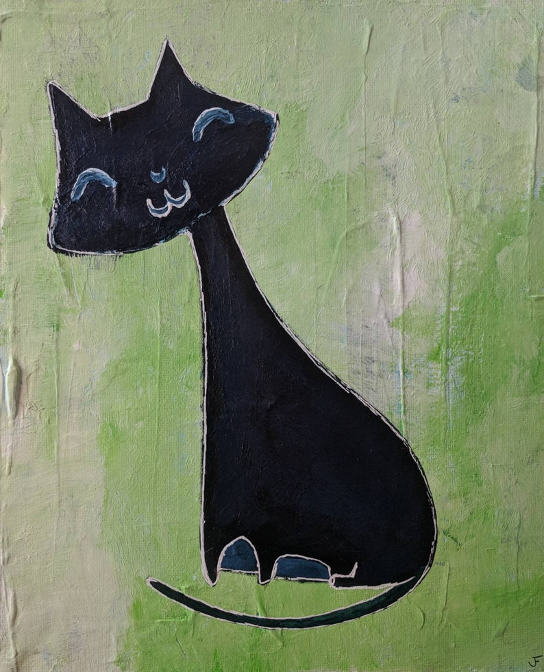 Cat Folk Art Original Painting Stretched Canvas 8x10 Gift image 0