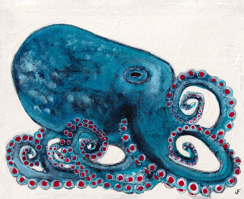 8x10 ART PRINT Octopus Painting Housewarming Gifts Ocean image 0