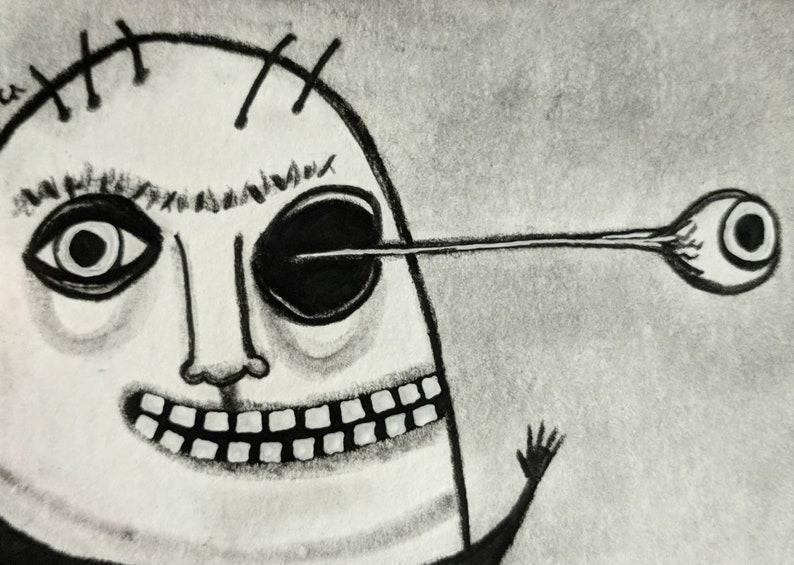 ACEO ORIGINAL ART Monster Paintings Monsters Outsider Folk Art image 0