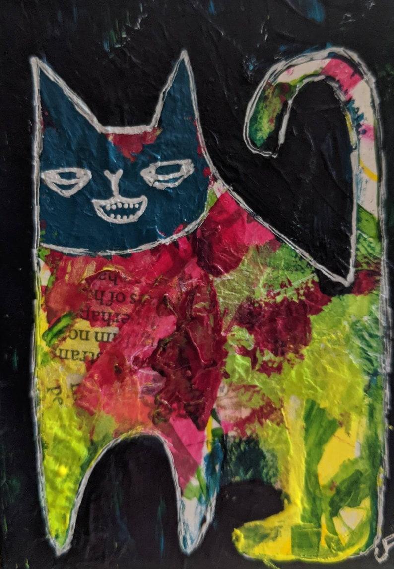 ACEO ORIGINAL Cat Folk Art Acrylic Painting Mixed Media image 0