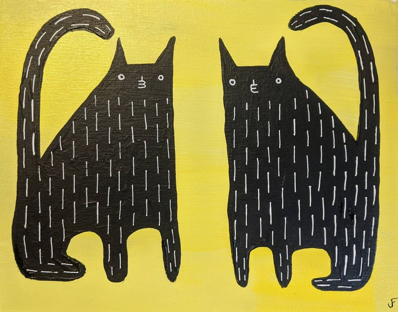 8X10 ORIGINAL ART Black Cat Folk Painting Canvas Quirky image 0