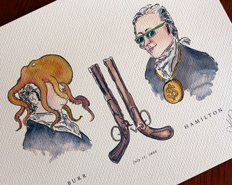 Alexander Hamilton vs Aaron Burr - The Duel -  PRINT 8x10