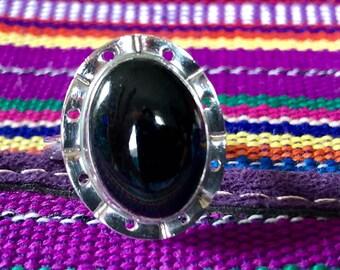 Black Jade Silver Ring