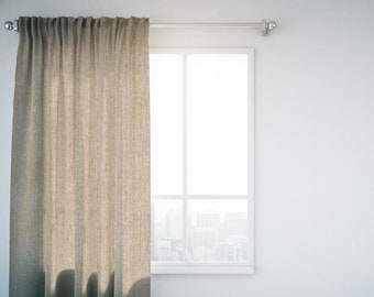 """Curtain panel in fabric Blackout Beige, Home Decor accessories, Drapery 52"""" large, Living room curtain or Bedroom blackout curtain panel"""