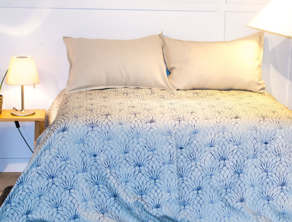 Housse de couette tissu Fleur de lotus bleu, housse de lit, habillage de lit, chambre à coucher, couette, couvre-lit Gris et Bleu
