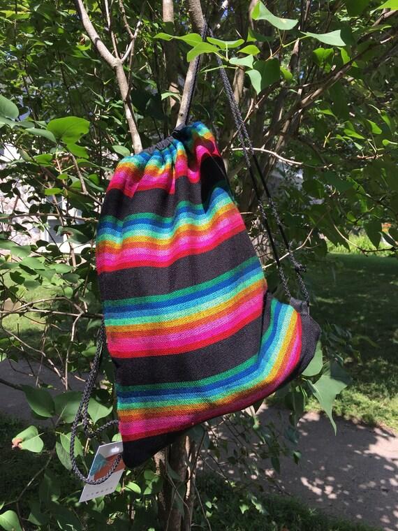 Baluchon, sac à dos, sac de sport, sac de piscine, sac de plage, doublure intérieure imperméable, Tissus authentique Mexicain Arc en ciel