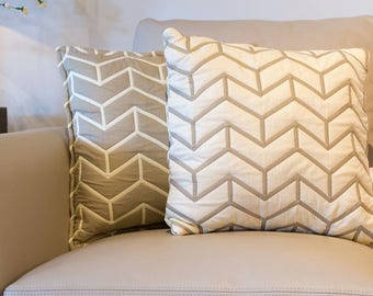 Reversible cushion cover, decorative pillow, cushion textured and quilted, cushion 16'' x 16'' cream one side and beige on the other side