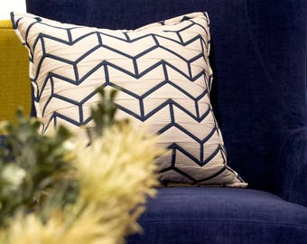 Reversible cushion cover, decorative pillow, cushion textured and quilted, cushion 16'' x 16'' white on one side and blue on the other side