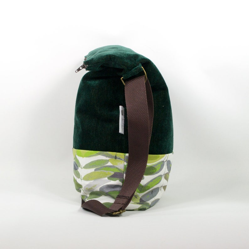 waterproof nylon interior perfect for lunch bag food bag washable Green velvet and pecan leaves fabric Reusable snack bag