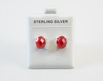 Jade Earrings / Jade / Red Earrings / Stud Earrings / Boho Earrings / Boho Jewelry / Best Friend Gift / Gift for Her