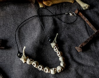 Painless ; Real animal bones ritual necklace - One of a kind