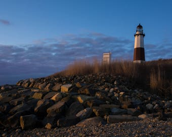 Lighthouse at dusk, Picture of a lighthouse, Photo of the Montauk Lighthouse, Sumner house decor