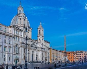 Photo of Rome, picture of Piazza Navona in Rome, Italy, historical Rome, Roman churches, Italian churches, photo of Rome on canvas