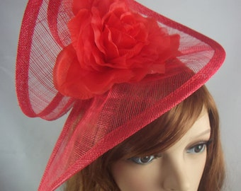 Red Sinamay Twist & Corsage Flower Fascinator - Occasion Wedding Races