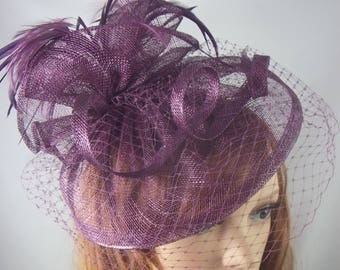 Plum Purple Sinamay Fascinator With Birdcage Veil - Occasion Wedding Races