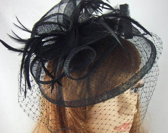 Black Sinamay Fascinator With Birdcage Veil - Occasion Wedding Races
