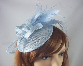 803ffd809d7c7 Pale Blue Sinamay Fascinator with Feathers - Special Occasion Wedding Races