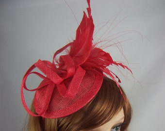 Red Sinamay Fascinator with Feathers - Special Occasion Wedding Races