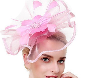 Red Crin Ruffle Wavy Disc Fascinator With Feather Flower Occasion Wedding Races