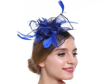 59c8cfa2 Royal Cobalt Blue Feather Flower Crin Ruche Ruffle Fascinator - Occasion  Wedding Races