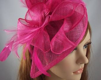 Fuchsia Pink Teardrop Sinamay Fascinator with Feathers - Wedding Races Special Occasion Hat