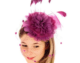 Purple Large Ruffle Flower Fascinator with Birdcage Veil - Occasion Wedding Races
