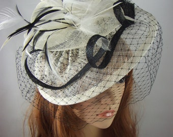Ivory & Black Sinamay Fascinator With Birdcage Veil - Occasion Wedding Races