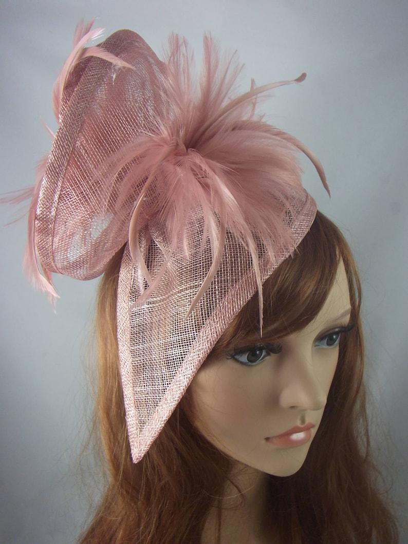 b6fdbf3c6ffdd Blush Pink Sinamay   Feathers Twist Fascinator Hat Occasion