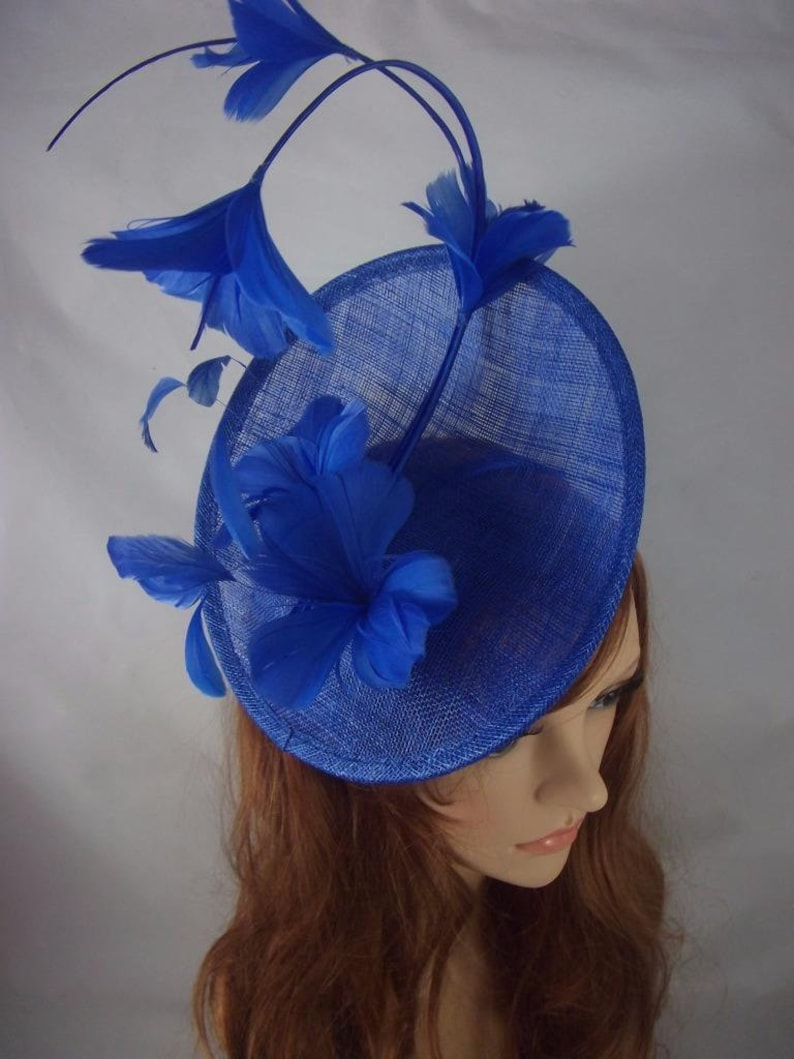 ef76428a Royal Cobalt Blue Statement Curve Saucer Fascinator with | Etsy