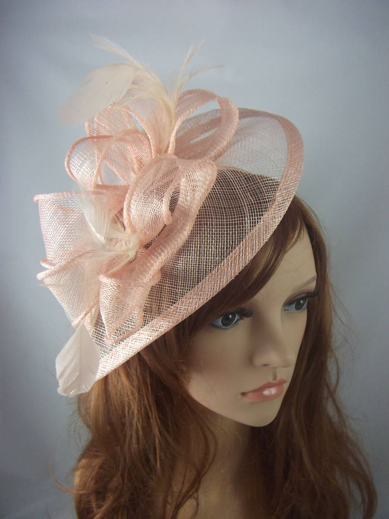 357be89a336c2 Nude Pink Teardrop Sinamay Fascinator with Feathers Wedding