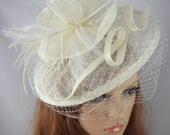 Ivory Cream Sinamay Fascinator With Birdcage Veil - Occasion Wedding Races