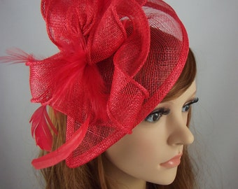 Red Teardrop Sinamay Fascinator with Feathers - Wedding Races Special Occasion Hat