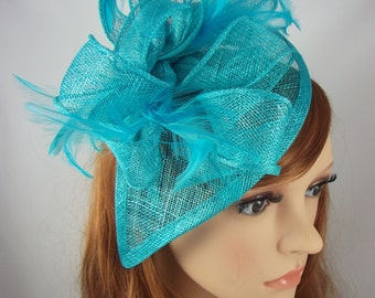 Turquoise Blue Teardrop Sinamay Fascinator with Feathers - Wedding Races Special Occasion Hat