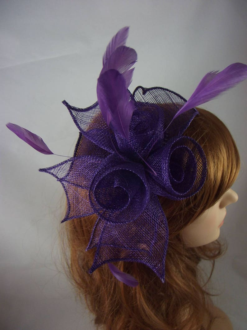 6e9f001a Purple Rose Comb Fascinator with Feathers Occasion Wedding | Etsy