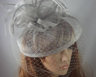 Silver Grey Sinamay Fascinator With Birdcage Veil - Occasion Wedding Races