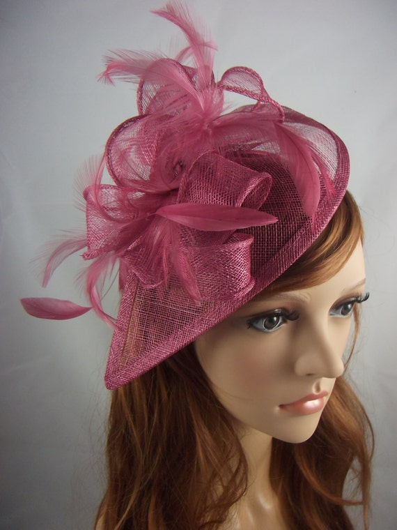 58a5b2f0f705d Wine Pink Teardrop Sinamay Fascinator with Feathers Wedding