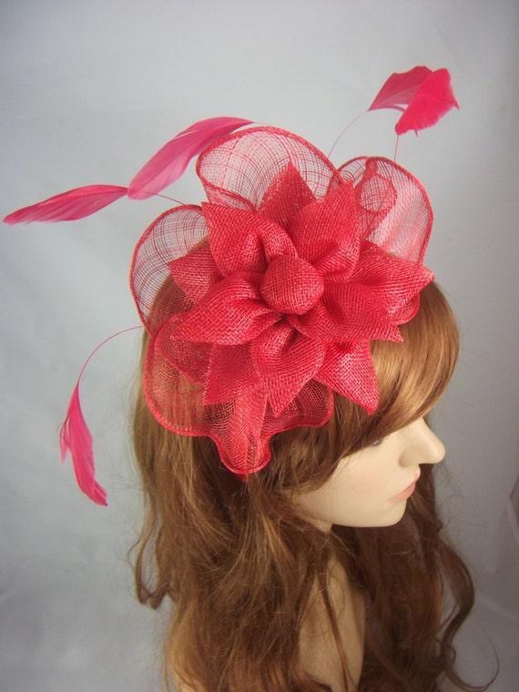 Red Sinamay Corsage   Ruffle Fascinator Occasion Wedding  6044e450f64