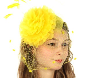 Yellow Large Ruffle Flower Fascinator with Birdcage Veil - Occasion Wedding Races