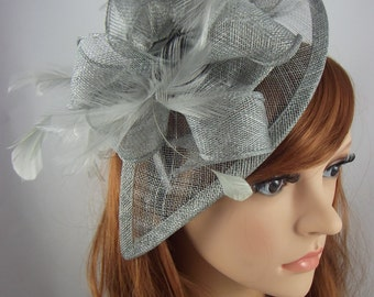 Silver Grey Teardrop Sinamay Fascinator with Feathers - Wedding Races Special Occasion Hat
