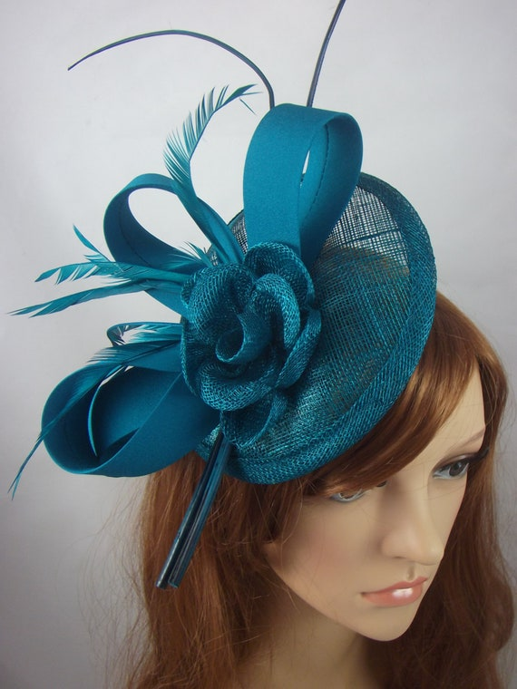 Teal Blue Green Satin Bow Sinamay Disc Fascinator Occasion  c4665d30b1d