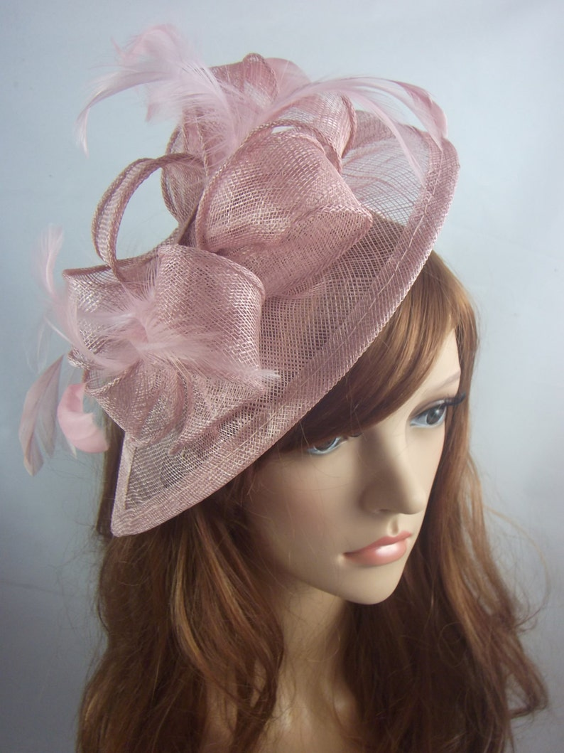 349bc6f6a256f Heather Blush Pink Teardrop Sinamay Fascinator with Feathers