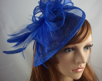 Royal Blue Teardrop Sinamay Fascinator with Feathers - Wedding Races Special Occasion Hat