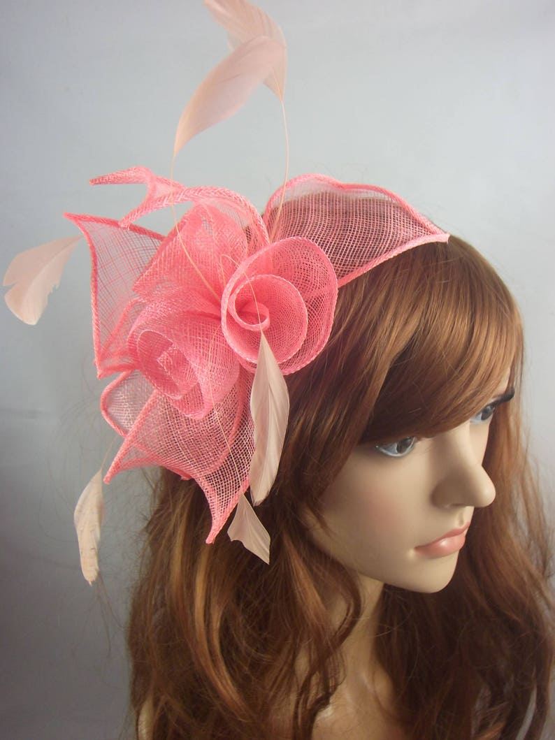 54020878 Coral Pink Rose Comb Fascinator with Feathers Occasion | Etsy
