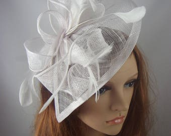 White Teardrop Sinamay Fascinator with Feathers - Wedding Races Special Occasion Hat