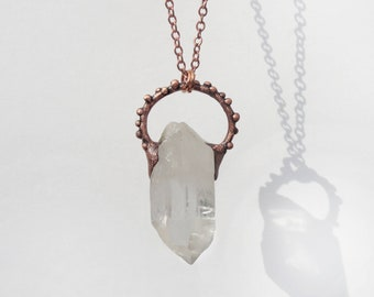 Raw Crystal Necklace   Rose Gold Plated Necklace   Natural Stone Pendant   Clear Crystal Point   Boho Birthstone Necklace   Electroformed